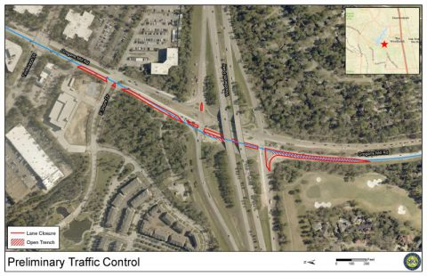 SJRA to repair water line, temporarily diverting traffic on Grogan's Mill at Woodlands Parkway