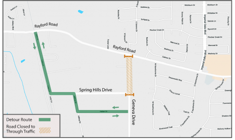 Road closure and traffic detour notice: Geneva Drive
