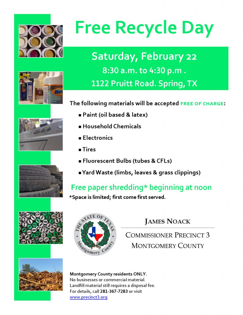 Precinct 3 Free Recycle Day | Commissioner James Noack
