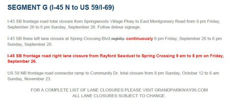 Grand Parkway I-45 Lane Closures – September 26, 2014