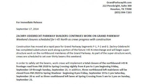 Important Lane Closure Information (I-45) from ZOPB Grand Parkway – September 18th