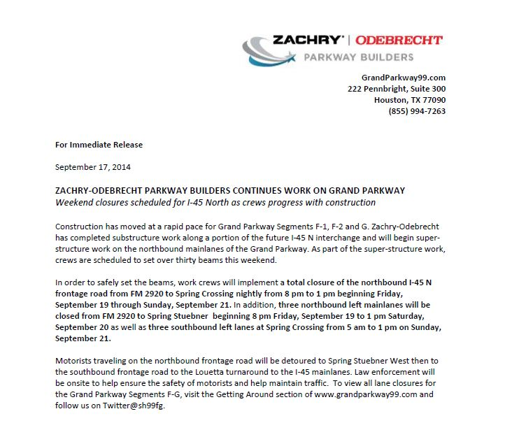 Important Lane Closure Information (I-45) from ZOPB Grand Parkway - September 18th