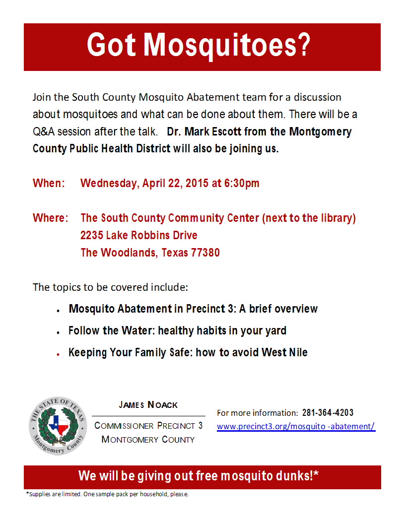 Mosquito Abatement Seminar – April 22nd, 6:30 PM