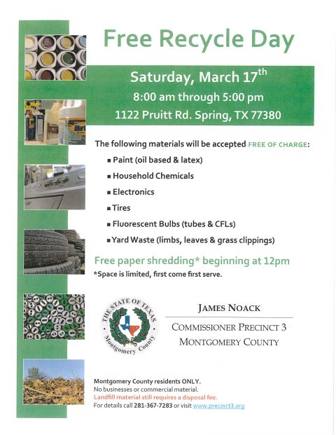 Precinct 3 to host annual free recycle day in March