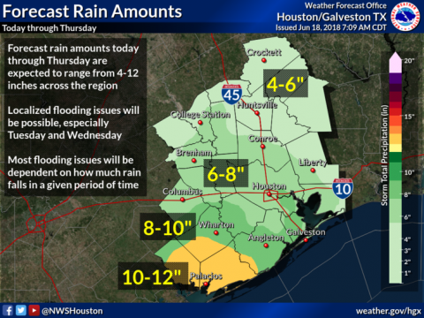 Tropical disturbance expected to bring heavy rains through Thursday