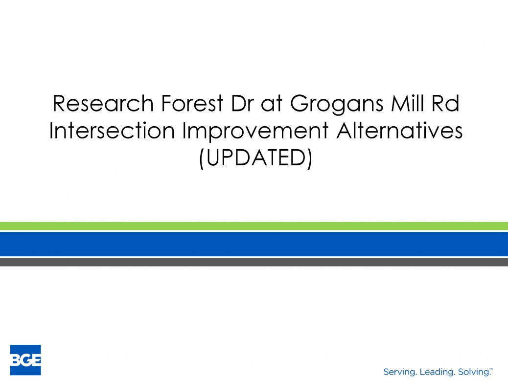 Research Forest Drive at Grogans Mill Road intersection improvement alternatives | Precinct 3